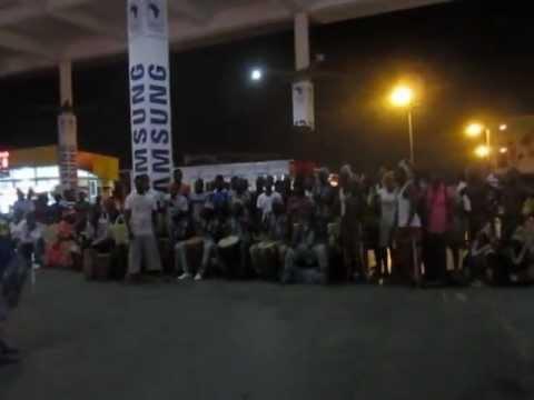 HOGOF Theatre perform at the Kotoka International Airport in Ghana