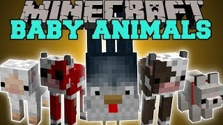 Minecraft: BABY ANIMAL PETS (SQUICKENS AND NEW BABY ANIMALS!) Mod Showcase