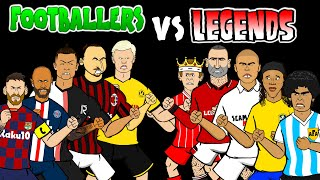 ⚽️FOOTBALLERS vs LEGENDS⚽️ feat. Messi Ronaldo Ronaldinho Cantona & more!