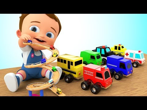 Learn Colors for Children with Baby Play City Vehicles Wooden Slider Toy Set 3D Kids Toddler Edu Vid