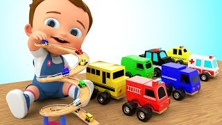 Toy Street Vehicles Slider Wooden Toy Set 3D - Learn Colors for Children with Baby Play Kids Toys