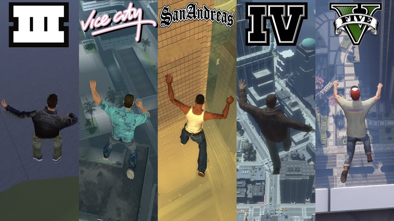 How JUMPING to DEATH have CHANGED in GTA Games 2001 - 2020 (Evolution of GTA)