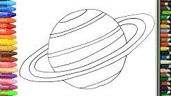 Wie zeichnet man Saturn | Zeichnen und Ausmalen für Kinder