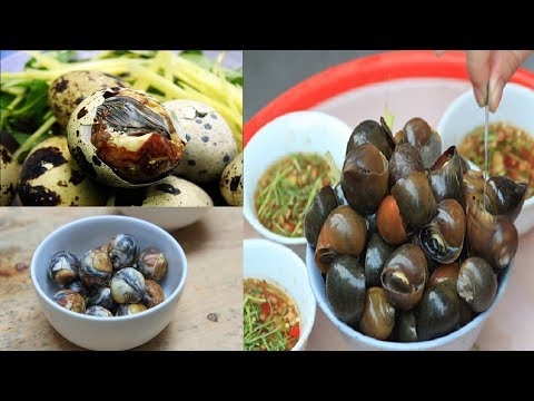 Street Food In Vietnam, Eating Fetal QUAIL EGGS & BOILED SNAILS Made In Vietnam