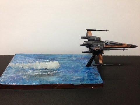 Xウイング(ポー専用機) ジオラマ風仕上げ 透明粘土すけるくんに挑戦