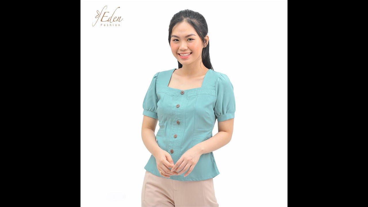 Áo kiểu nữ thời trang Eden tay ngắn cổ vuông phối nút – ASM123   Tổng quát các thông tin liên quan đến thoi trang áo kieu nu chuẩn nhất