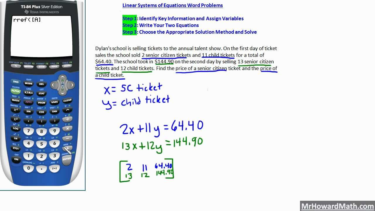 worksheet Systems Of Equations Problems linear systems of equations word problems 4 examples youtube examples