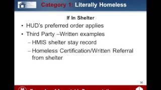 ESG Webinar: Homeless Status - Recordkeeping Requirements - 5/8/12