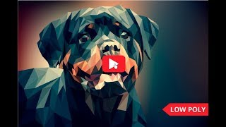 Low poly portrait of Rottweiler breed dog.