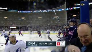 NBC Sports analyst nearly gets hit in face with hockey puck on 2/19/19