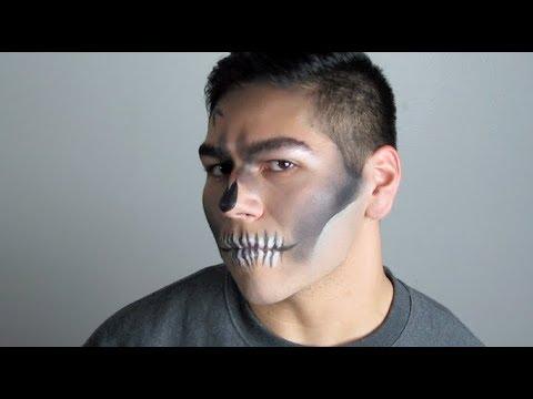 How To Easy Halloween Skeleton Makeup , Men\u0027s Makeup Tutorial