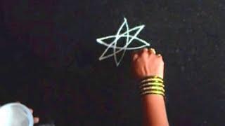 Simple rangoli - free hand for Dasara