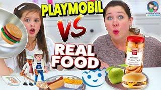 REAL FOOD vs. PLAYMOBIL FOOD Challenge! Geschichten und Spielzeug