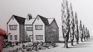 How to Draw House in 1-Point Perspective: Narrated Step by Step