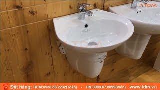 TDM.VN | Giới thiệu chậu rửa mặt lavabo Viglacera VTL2 chân BS502 + vòi VSD104 nóng lạnh