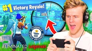 *NEW* WORLD'S LONGEST SNIPE on MOBILE Fortnite Battle Royale!