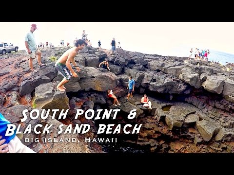 Southernmost point in the US and the Black Sand Beach - Big Island, Hawaii