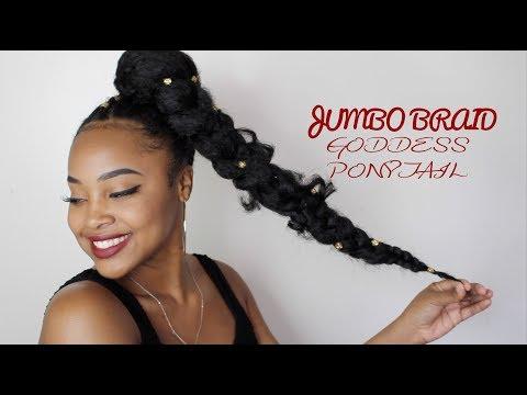 watch easy to do short jumbo goddess braid ponytail on natural