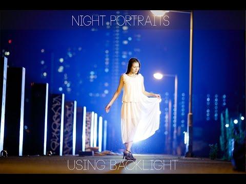 Strobist video: Night portraits using back light for background color/ 夜景 ポートレート 撮影 の逆光&オレ ンジフィルター使用