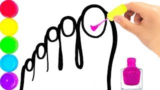 Glitter Nail Polish coloring and drawing for Kids, Toddlers Кис Кис