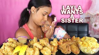 LAYLA WANT A BABY SISTER (FRIED SHRIMP, CONCH + MAC N CHEESE) SEAFOOD MUKBANG 먹방| QUEEN BEAST