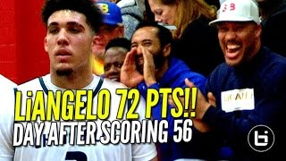 liangelo ball scores 72 points day after scoring 56 chino hills vs r christian full highlights
