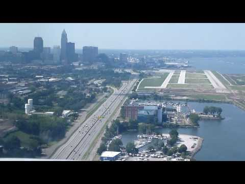 Landing on runway 24L at Cleveland-Burke Lakefront airport on a Piper Cherokee