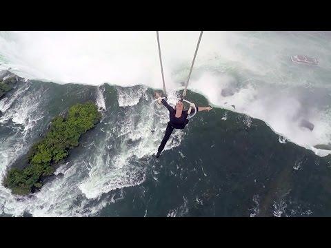 Watch Daredevil Dangle Above Niagara Falls by Her Teeth