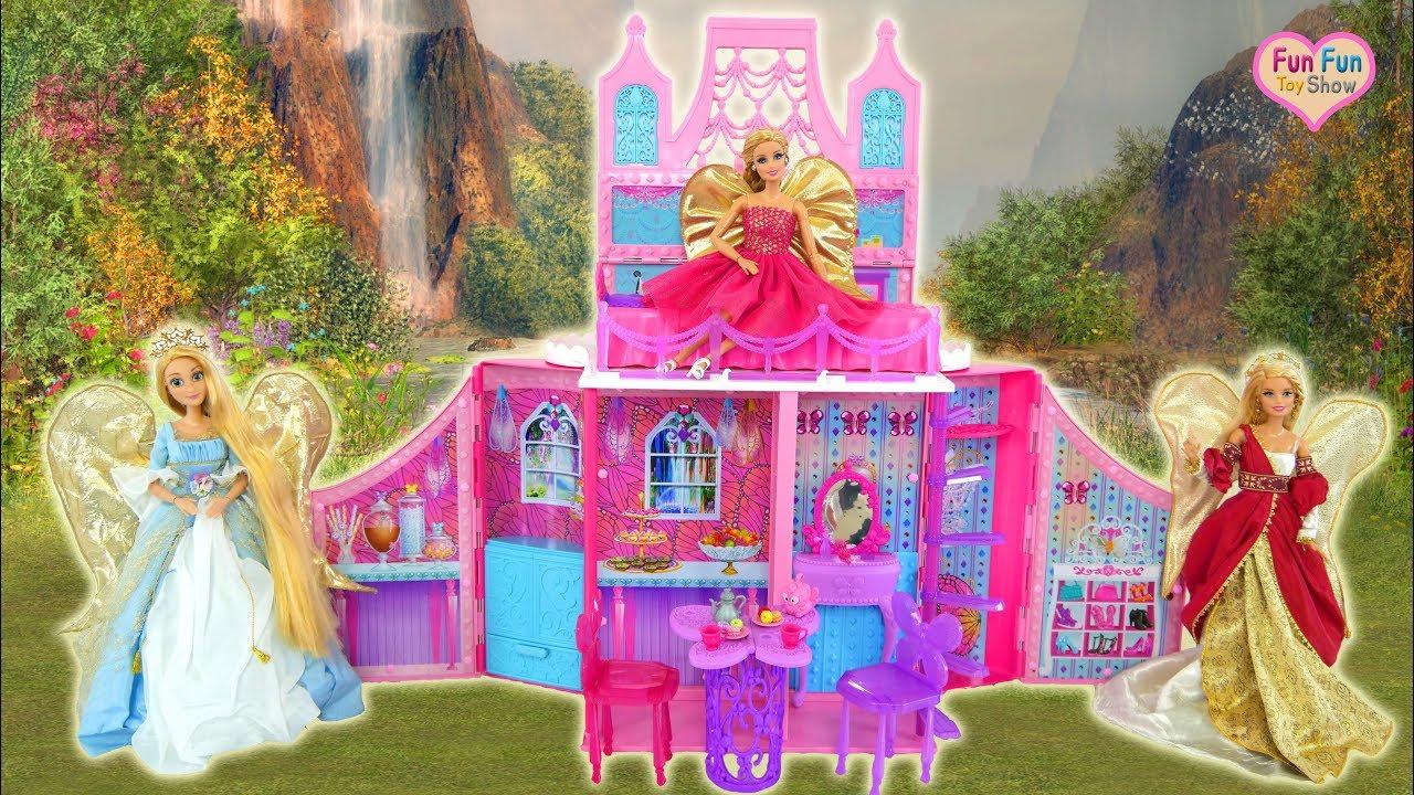 Princess Barbie Fairy Castle Barbie Angel Dolls Peri Putri Barbie Kastil Bonecas De Anjo