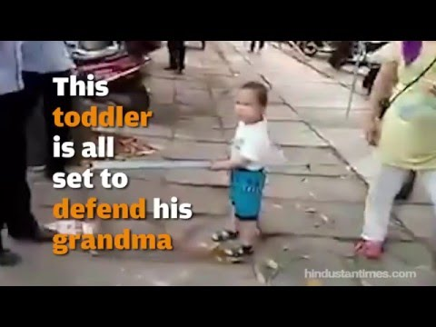 Adorable angry toddler defends grandma