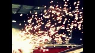 plasma cutter sparks in slow motion.