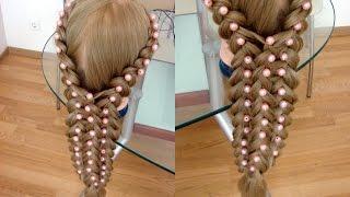 Коса в технике трёх кос с бусинами.  Видео-урок Детские причёски