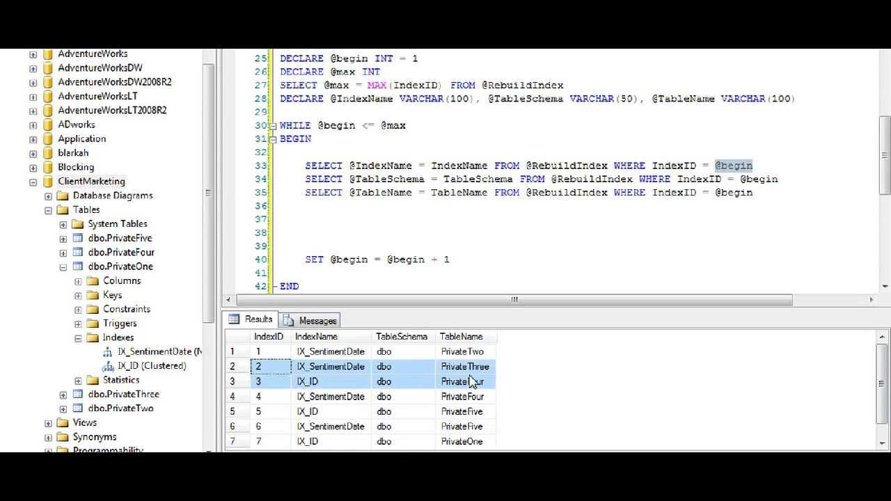Tsql rebuild all indexes in a database youtube tsql rebuild all indexes in a database ccuart Image collections