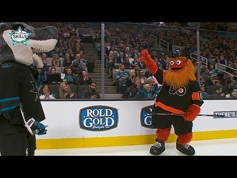 Gritty, S.J. Sharkie battle in Fastest Skater competition