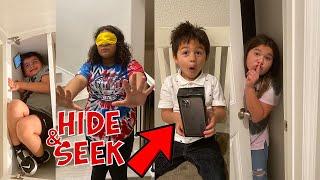 Blindfolded HIDE and SEEK WINNER GET MYSTERY BOX!!!