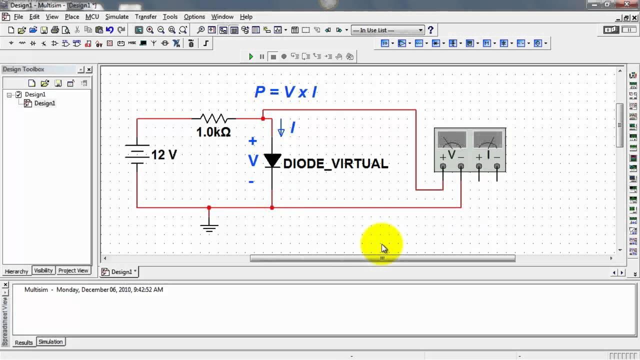 NI Multsim: Measure DC power with a wattmeter - YouTube
