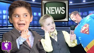 HobbyKids Breaking NEWS! Adventure + Real Superheroes Surprise Toys. Batman Superman HobbyKidsTV