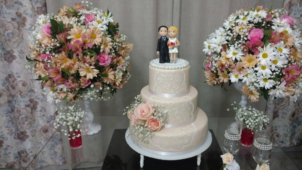 Mini casamento Simples e bonito YouTube -> Decoração De Mesa De Casamento Barato