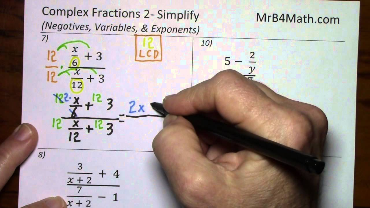 Complex Fractions 2 Simplify Negatives, Variables, & Exponents  Youtube