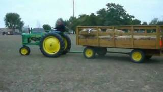 Driving John Deere B And Pulling Hay Wagon