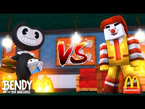 Minecraft BENDY AND THE INK MACHINE VS MCDONALDS - BENDY & BORIS TRY TO STEAL ALL THE BIG MAC'S!!!!