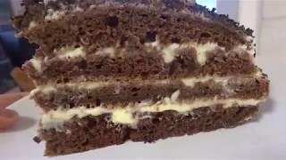 торт Черный принц, с заварным кремом/ шоколадные коржи на кефире