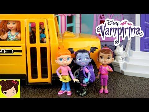 Vampirina Rutina Escolar y Casa de Muñecas con Bebe Elsa & Anna - Juguetes de Vampirina en Español