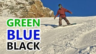 Green, Blue & Black Runs - Beginner Snowboard Turn Progression