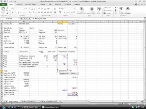 Calcolo busta paga con Excel 2010 from YouTube · Duration:  11 minutes 56 seconds