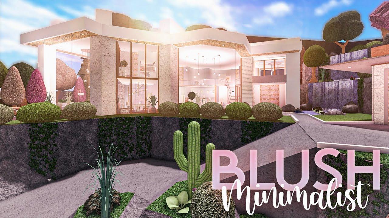 Roblox || Bloxburg: Blush Hillside Minimalist || MANSION BUILD!