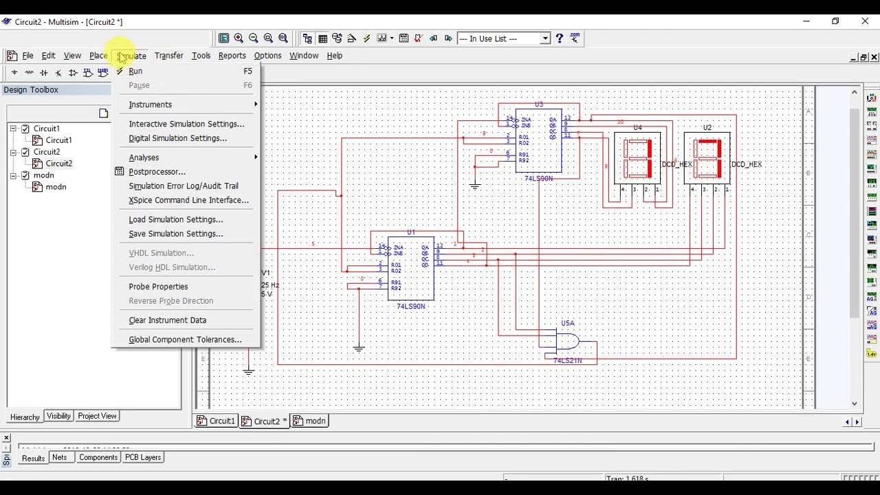 experiment digital electronic mod n /96 counter using 74LS90 ic or decade  counter using multisim