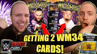 GETTING 2 WM34 CARDS IN 1 VIDEO! FREE PACK OPENINGS + CHALLENGE PACK OPENING! WWE SuperCard Season 4