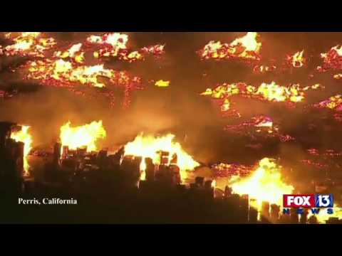 Live from Perris, California, where 1.5 acres of wooden pallets have burst into flames.