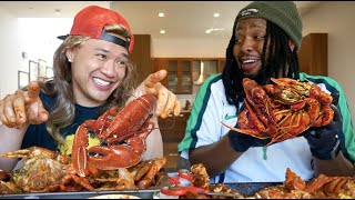Hilarious Seafood Boil MUK BANG with KevOnStage - Biggest Fears & Life Goals - Kickin Kasian
